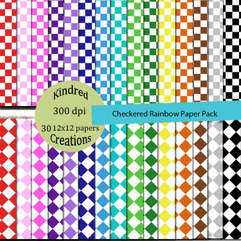 Checkered Rainbow Paper Pack