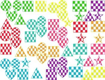 Checkered Shapes Clip Art