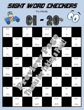 5 Checkers Game Boards for Fry's FIRST 100 Sight Words