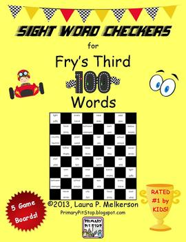 5 Checkers Game Boards for Fry's THIRD 100 Sight Words