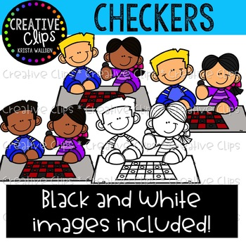 Checkers Game Clipart {Creative Clips Clipart}