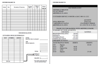 Checking Account Balancing Packet 2-B