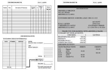 Checking Account Balancing Packet 4-B