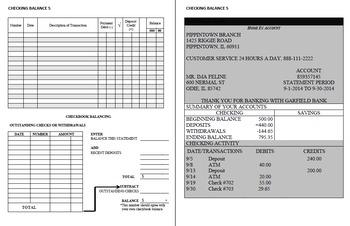 Checking Account Balancing Packet 5