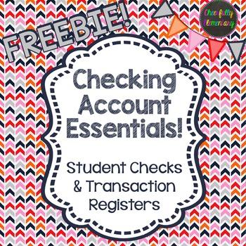 checking account essentials checks ledger register freebie tpt
