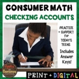 Checking Accounts - Consumer Math Unit (Notes, Practice, T