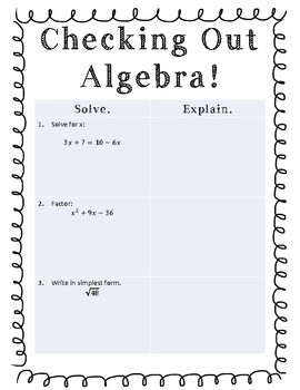 Checking Out Algebra! A review of basic algebra operations