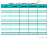 Checking Out Classroom Materials FREEBIE!