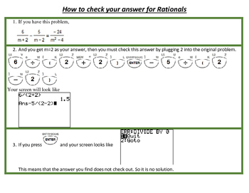 Checking Rational Expressions using the Calculator