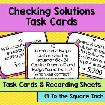 Checking Solutions Task Cards
