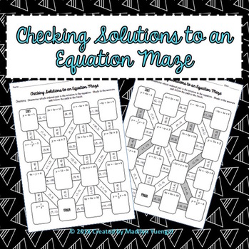 Checking Solutions to a Linear Equation Maze