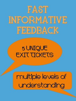 Checking Student Understanding - A Variety of FIVE Exit Cards