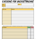 Checking for Understanding Google Doc Template