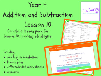 Checking strategies lesson pack (Year 4 Addition and Subtraction)