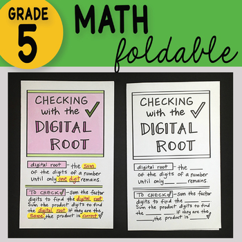 Math Doodle - Checking with the Digital Root ~ INB Foldable Notes ~