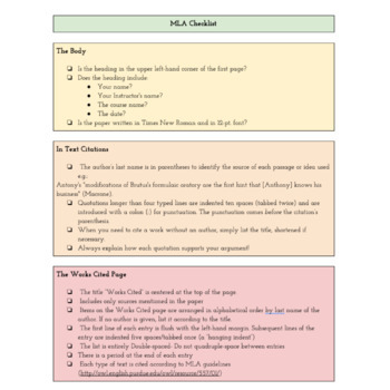 Checklist For MLA Format: PDF & Google Drive