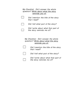 Checklist for Making Connections
