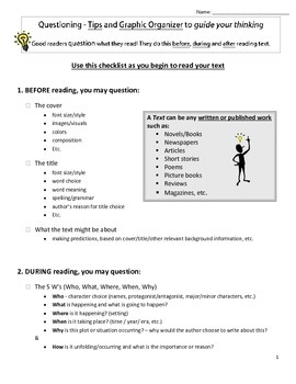 Checklist & Graphic Organizer for Questioning text (Before/During/After reading)