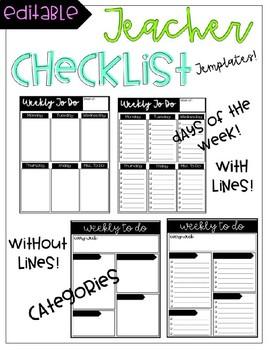 Checklist & Teacher To Do Lists