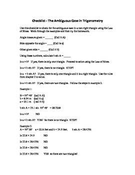 Trigonometry: Checklist - The Ambiguous Case