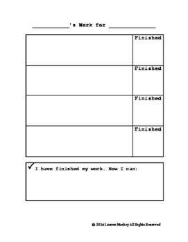 Checklist/Work System for Work Time