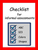Checklist for Informal Assessments
