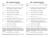 Checklist for Read 180 - Independent Reading