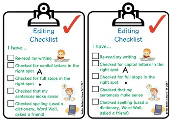 Checklist for Students to Edit Their Writing