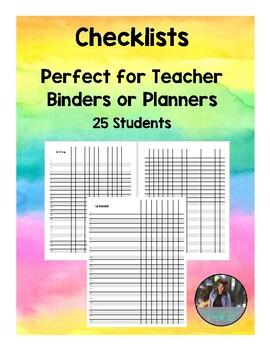 Checklist for Teacher Planner/Binder 25 Students