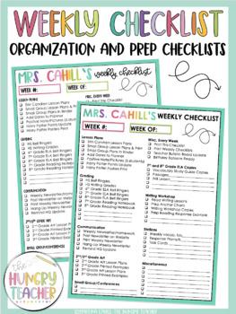 Checklists for Teachers and Teacher Lesson Planner Printables *Editable Options*