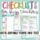 Checklists for Teachers and Teacher Lesson Planner Printables *Editable Options*