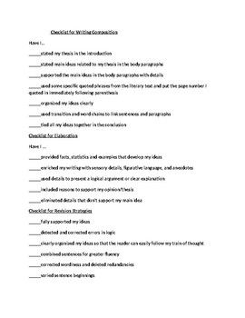 Checklist for Writing Composition
