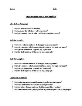 Checklist for Writing an Argumentative Essay