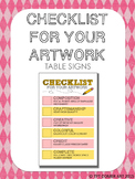Checklist for Your Artwork Table Signs
