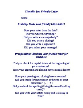 Checklist for a friendly letter (Editable)