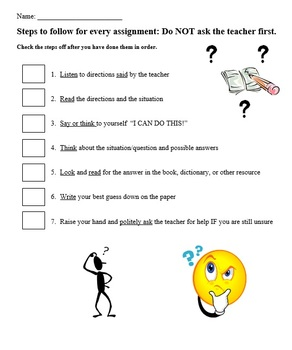 Checklist for completing assignments
