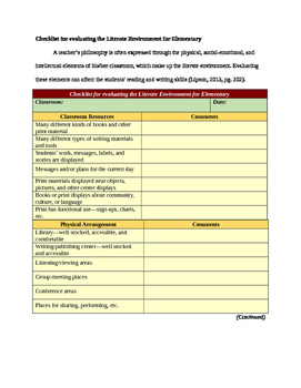 Checklist for evaluating the Literate Environment for Elementary