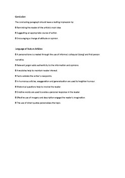 Checklist for feature article writing