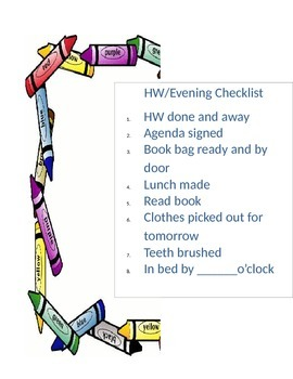 Checklist for homework and evening routine