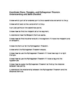 Checklist for skills on angles, triangles, Pythagorean Theorem, Distance Formula