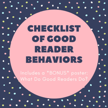 Checklist of Good Reader Behaviors (editable)