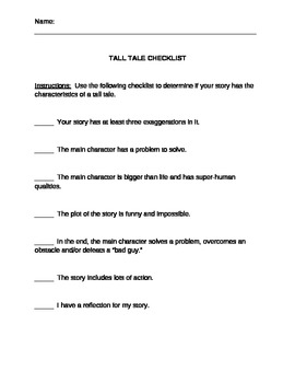 Checklist to use when writing your own tall tale