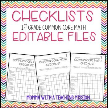 Checklists 1st Grade Math Common Core EDITABLE
