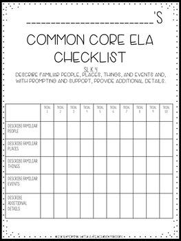 Checklists Kindergarten ELA Common Core EDITABLE