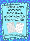 Checklists and Anecdotal Records-Editable