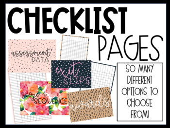 Checklists and Cover Pages