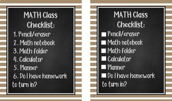 Student Checklists for Class Materials-Chalkboard Design