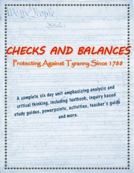 Checks and Balances complete unit, including text