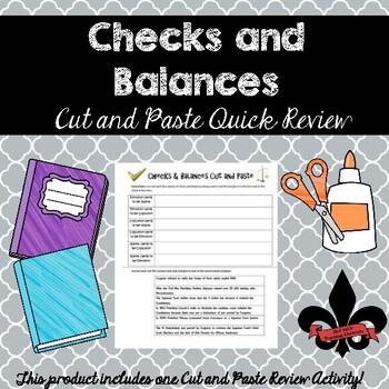 Checks and Balances Cut and Paste Review--NO PREP