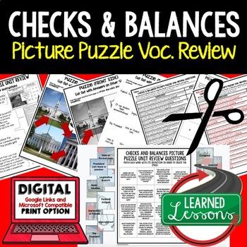 Checks and Balances Picture Puzzle Unit Review, Study Guide, Test Prep